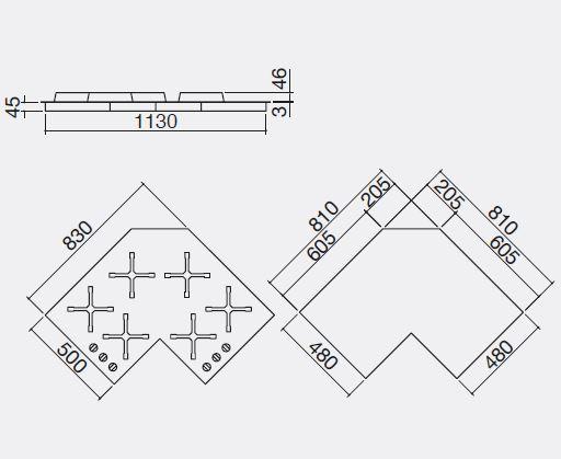 Piani cottura angolari idee creative di interni e mobili for 2500 piani quadrati di 2 piani