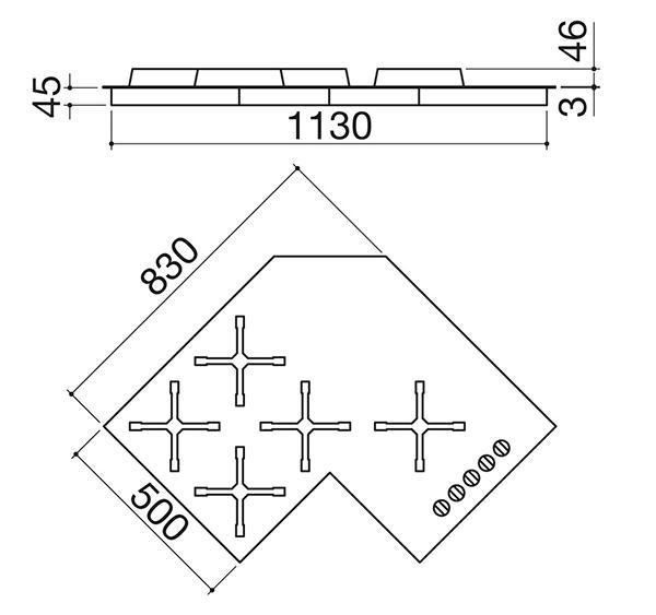 BARAZZA piano cottura SELECT 1PIA1SLVE ad angolo 90 cm