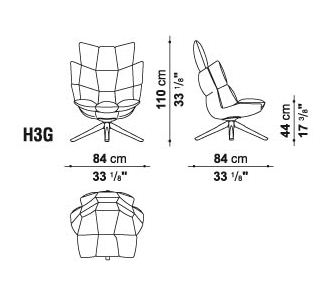 b&b italia h3g sizes