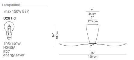 luceplan lampada a soffitto ventilatore blow d28 hd telecomando d28t ebay. Black Bedroom Furniture Sets. Home Design Ideas