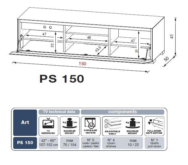 munari dimensions PS150