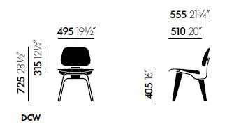 vitra plywood dcw sizes