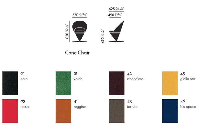 vitra poltrona cone chair sizes