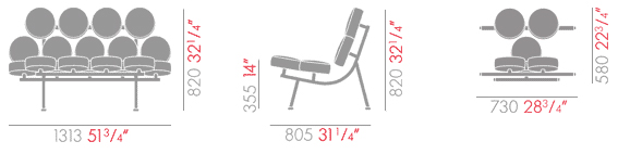 vitra marshmallow sofa sizes