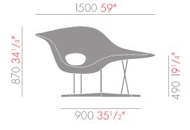 vitra la chaise sizes