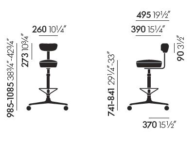 vitra rotary tray sizes
