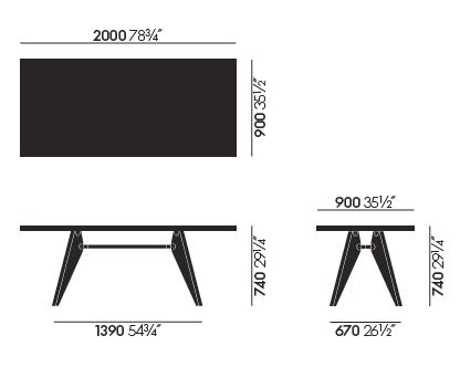 vitra table solvay sizes