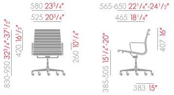 vitra aluminium chair misure