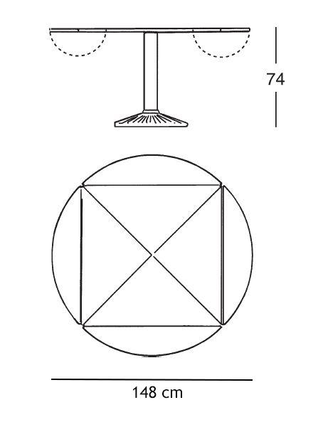 ZANOTTA tavolo quadrato trasformabile in rotondo QUADRITONDO 105x105 ...