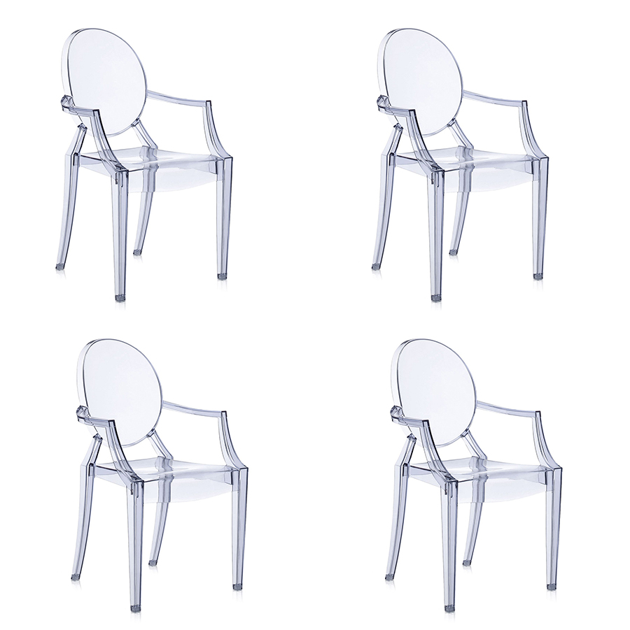 kartell 4 sedie louis ghost azzurre blu blue philippe starck ebay. Black Bedroom Furniture Sets. Home Design Ideas