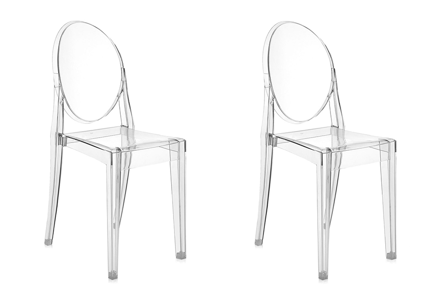 kartell set de 2 chaises victoria ghost transparentes fauteuil ebay. Black Bedroom Furniture Sets. Home Design Ideas