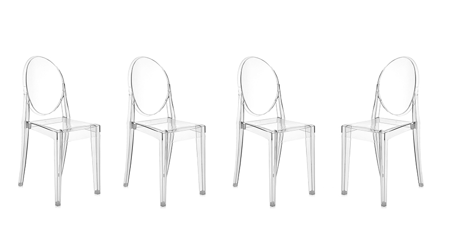 Kartell 4 chaises victoria ghost transparent design by philippe starck ebay - Chaises philippe starck soldes ...