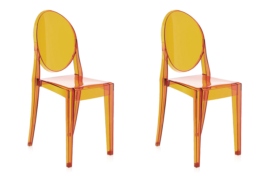 kartell 2 sedie victoria ghost arancio orange by philippe starck ebay. Black Bedroom Furniture Sets. Home Design Ideas