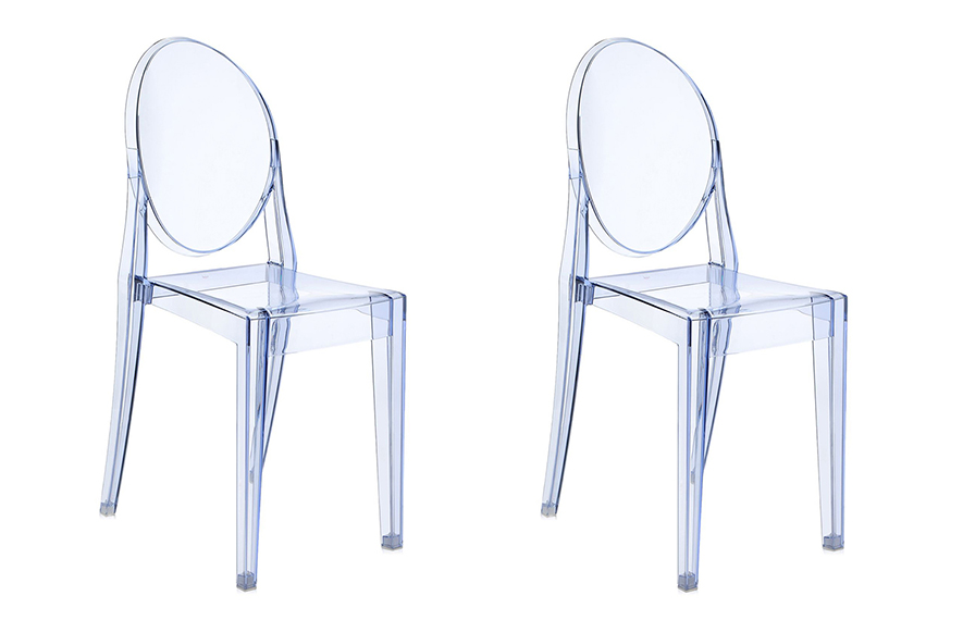kartell 2 sedie victoria ghost azzurre by philippe starck ebay. Black Bedroom Furniture Sets. Home Design Ideas