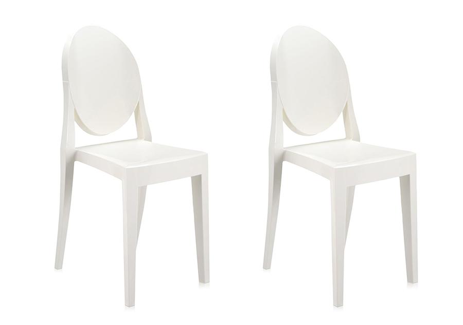 Kartell 2 Sedie Victoria Ghost Bianco Lucido Coprente Design By Philippe Starck Ebay