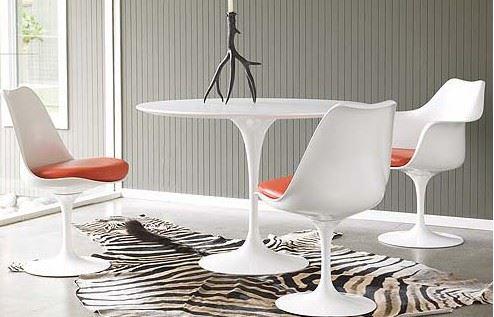 Knoll sedia girevole con cuscino tulip scocca e base bianca cuscino in pelle bianca vo785 - Sedia tulip knoll prezzo ...