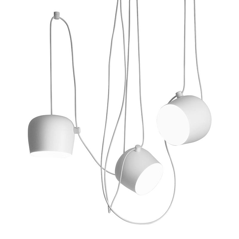 flos set da 3 lampade a sospensione aim bianche