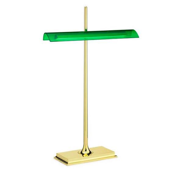 Lampada Da Scrivania In Ottone.Flos Lampada Da Tavolo Goldman Corpo Ottone Diffusore Verde