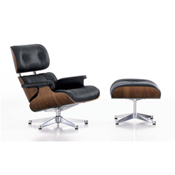VITRA armchair black leather LOUNGE CHAIR & OTTOMAN classical dimensions