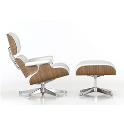 VITRA armchair white leather LOUNGE CHAIR & OTTOMAN classical dimensions