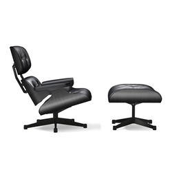 VITRA armchair black seat and leather EAMES LOUNGE CHAIR & OTTOMAN classical dimensions