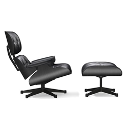 VITRA armchair black seat and leather EAMES LOUNGE CHAIR & OTTOMAN new dimensions