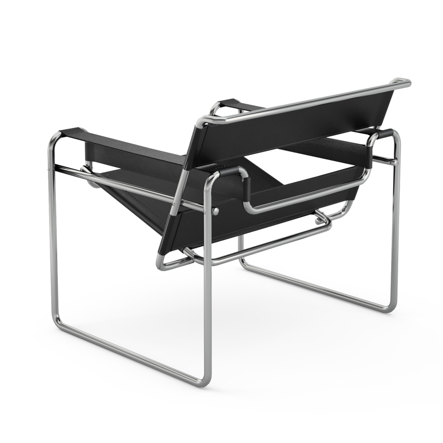 knoll poltrona wassily by marcel breuer cuoio nero. Black Bedroom Furniture Sets. Home Design Ideas