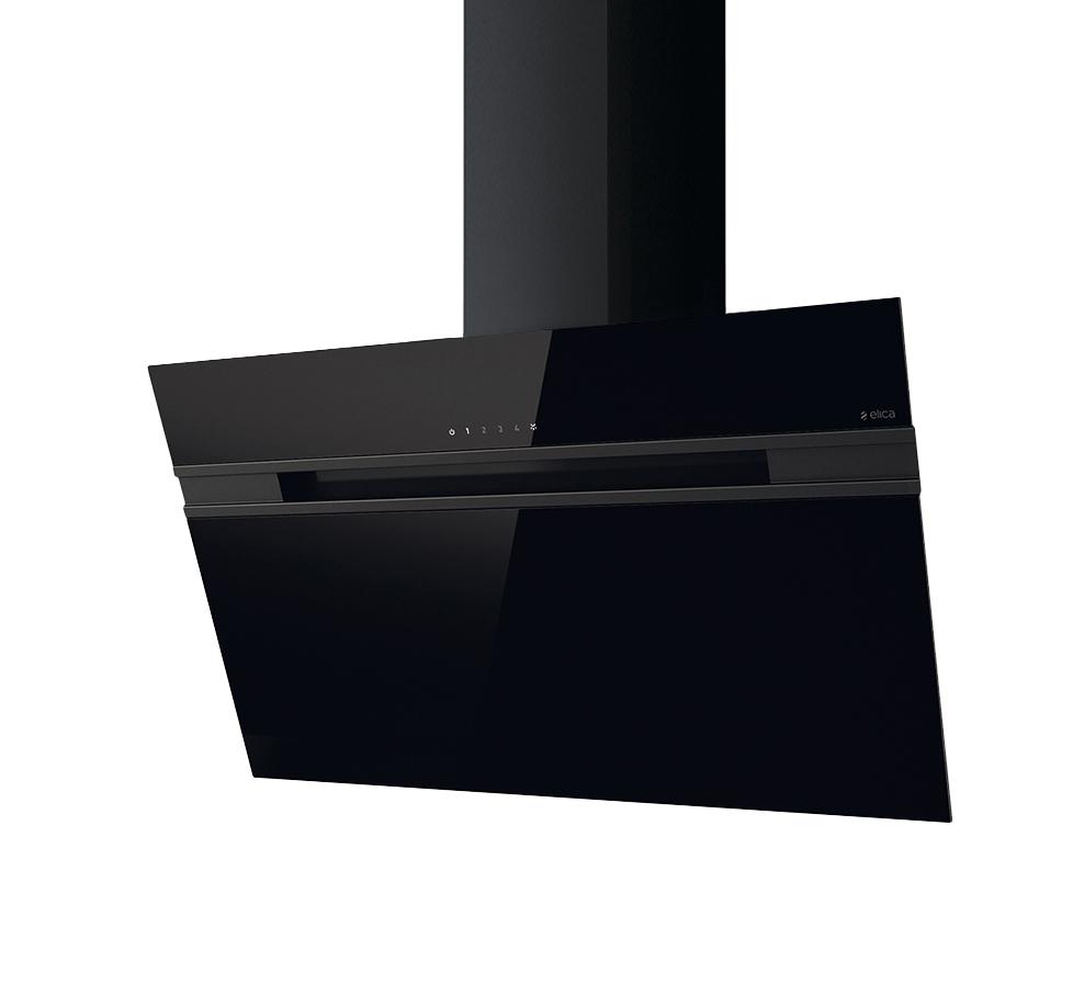 elica cappa da parete stripe nero 90 cm vetro. Black Bedroom Furniture Sets. Home Design Ideas
