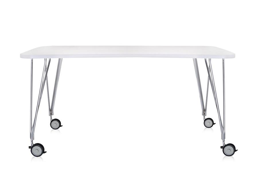 Kartell tavolo con ruote max l 160 cm bianco zinco piano