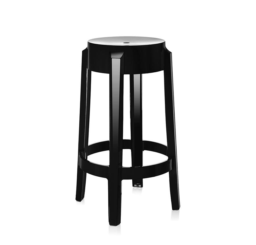 kartell tabouret charles ghost hauteur 65 cm noir. Black Bedroom Furniture Sets. Home Design Ideas
