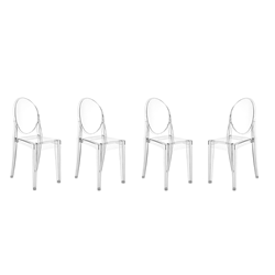 KARTELL set of 4 chairs VICTORIA GHOST (Glossy white - Coloured ...