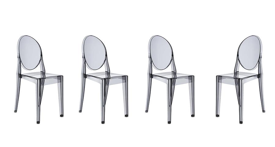 Kartell set da 4 sedie victoria ghost fumé policarbonato