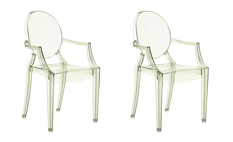 KARTELL set of 2 chairs LOUIS GHOST (Green - Transparent ...
