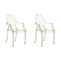 KARTELL set of 2 chairs LOUIS GHOST (Orange - Transparent ...