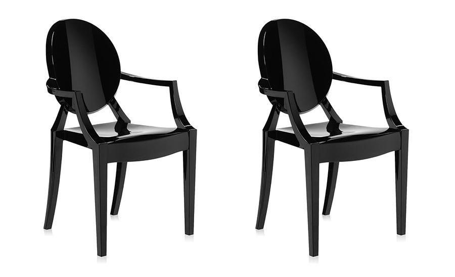 Kartell set da sedie louis ghost nero policarbonato colorato