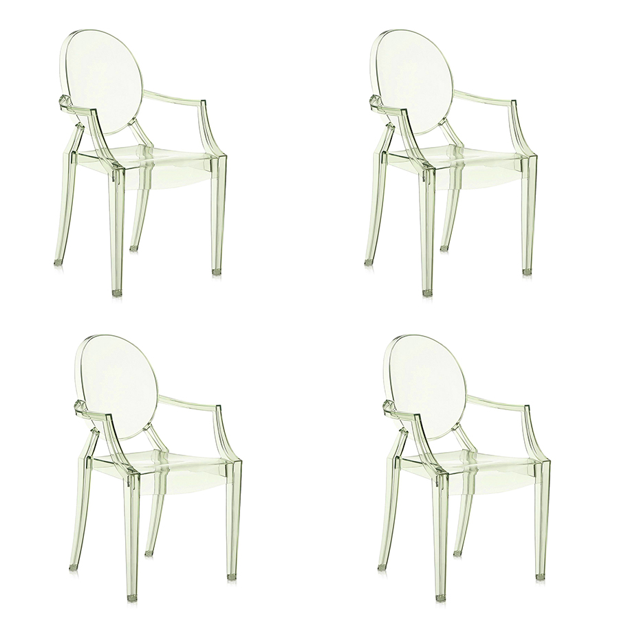 Kartell Set Of 4 Chairs Louis Ghost Green Transparent