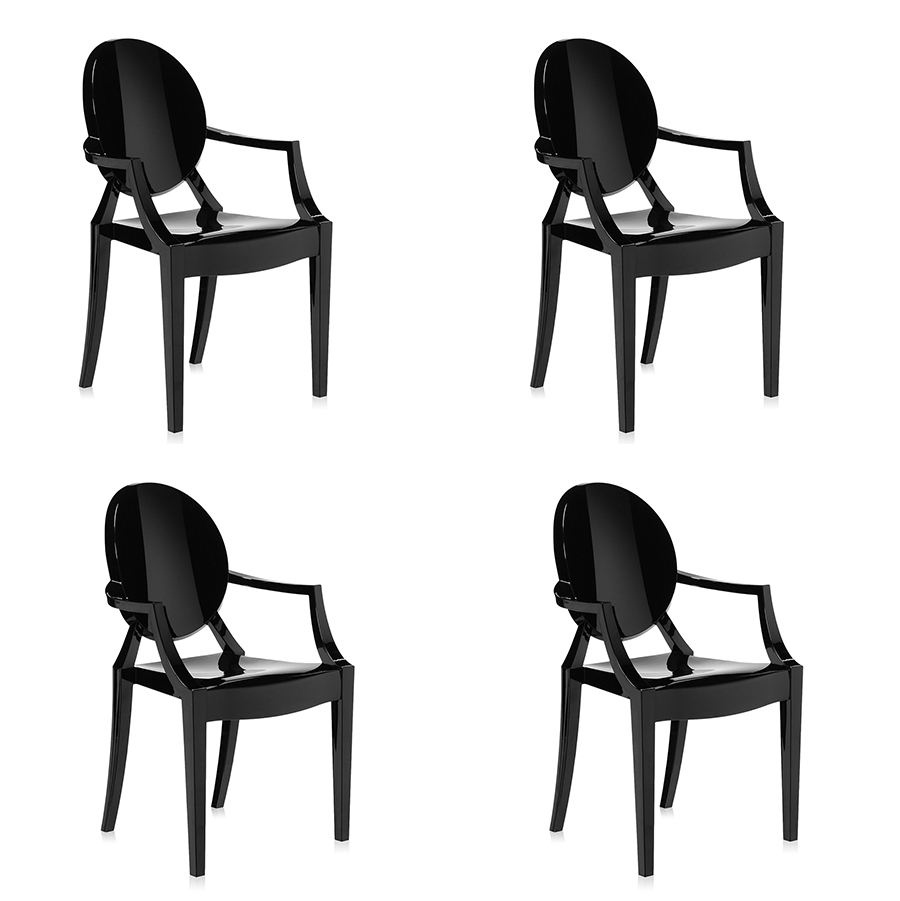 Kartell Set Of 4 Chairs Louis Ghost Glossy Black Coloured