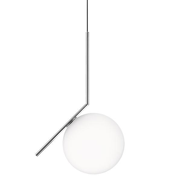 Flos lampada a sospensione ic s2 acciaio cromato vetro for Lampada flos sospensione