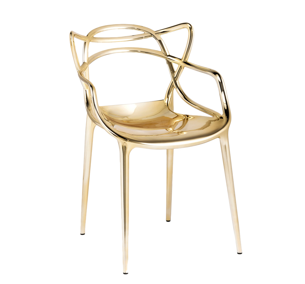 Details zu KARTELL set da 2 sedie MASTERS METALLIZZATE PRECIOUS COLLECTION  Philippe Starck