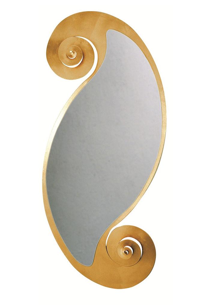 Arti e mestieri specchio da parete circe ovale foglia oro metallo - Specchio arti e mestieri ...