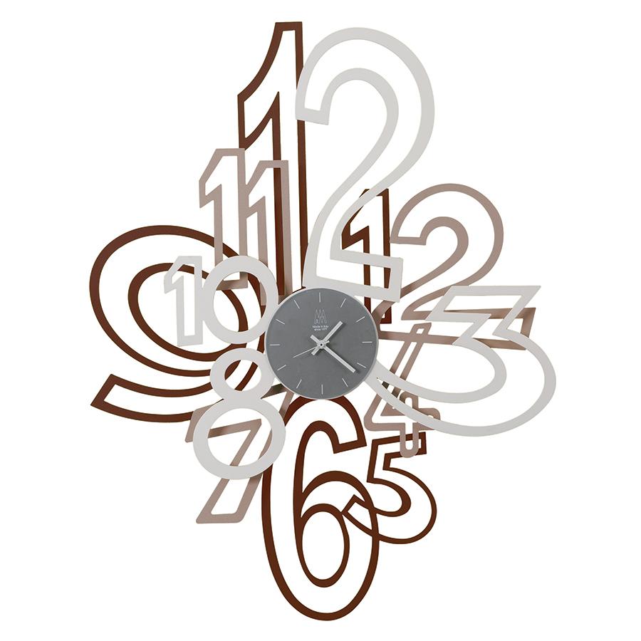 Arti E Mestieri Wall Clock Mimic Corten Beige White Metal And