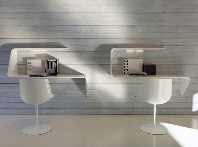 Mdf italia mensola scrivania da parete con illuminazione led mamba - Illuminazione da parete design ...