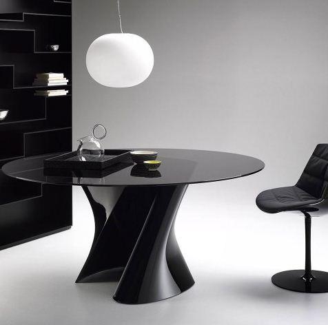 Tavoli Rotondi In Cristallo Design.Mdf Italia Tavolo Rotondo S Table O 140 Cm Laccato Nero
