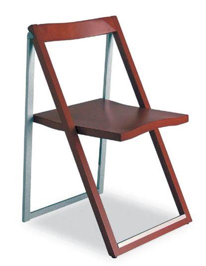 CONNUBIA CALLIGARIS set 2 sedie pieghevoli SKIP CB207 (Noce Alluminio SatinatoLegno Massello)