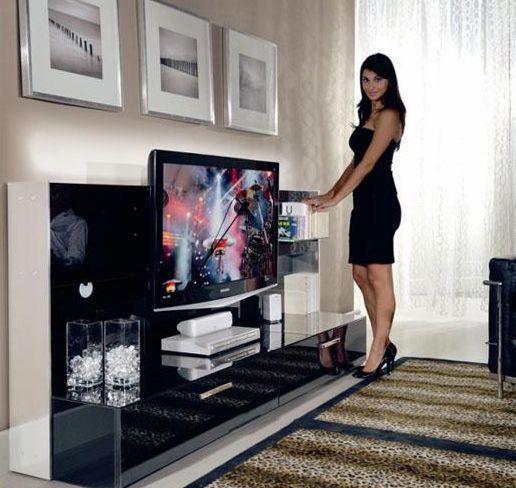 MUNARI mobile porta TV BELT23 (Nero - MDF/Cristallo) - MyAreaDesign.it