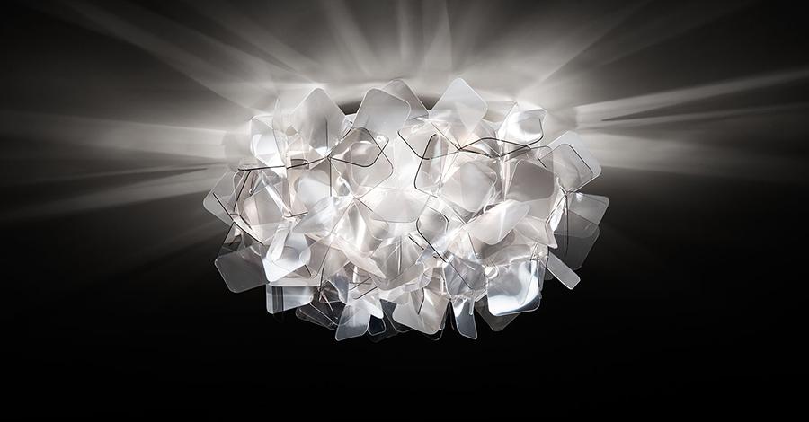 Plafoniere Da Parete Alternative : Slamp lampada da parete plafoniera clizia fumé opalflex