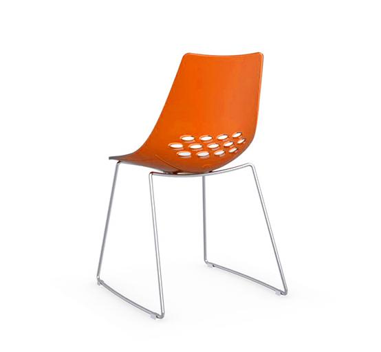 CONNUBIA CALLIGARIS set da 2 sedie JAM CB1030 (Bianco Arancio trasparente ABS Acciaio cromato)