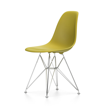 VITRA Eames Plastic Side Chair DSR NEW DIMENSIONS (Mustard - Chromed ...
