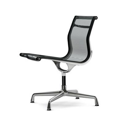 vitra chaise de bureau ea 105 ea105 noir tissu en r sille et aluminium chrom. Black Bedroom Furniture Sets. Home Design Ideas