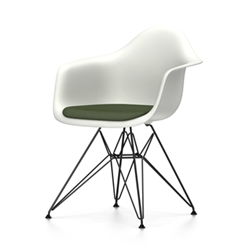 VITRA Eames Plastic Armchair with cushion and black base DAR NEW DIMENSIONS